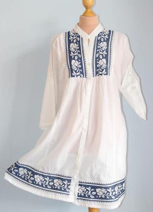 Белая длинная рубашка удлиненная кардиган платье- рубашка хола...