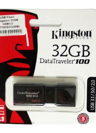 Флешка (USB Flash) Kingston 32GB DT100G3 (USB 3.0) черная