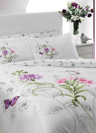 Постельное белье Tac сатин Delux - Nicole lila v2 лиловый евро