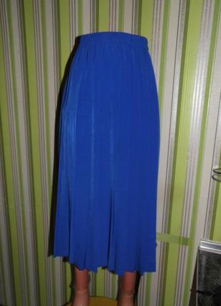 Плиссированная юбка миди -  цвет индиго -  eu 42 -  сток!!!