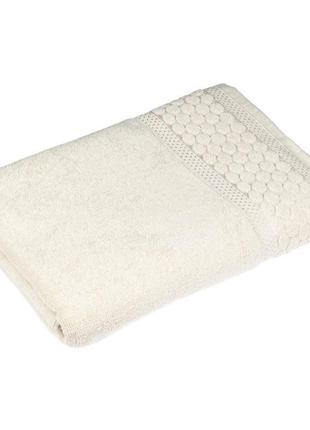 Красивое  махровое полотенце мия 50х90 кремовое 100%  хлопок