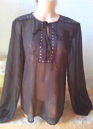 Розвантажуюсь ❤️ шикарная черная удлиненная рубашка/туника/блу...
