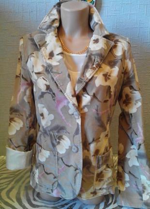 Пиджак блейзер вельветовый цветной принт h&m. винтажный стиль.