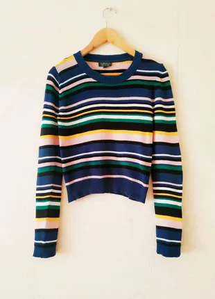 Полосатый свитер топ Topshop в полоску, джемпер, синий, кофта