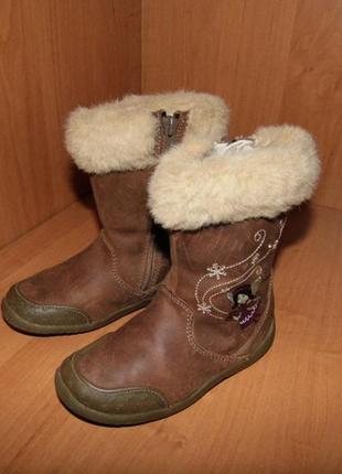 Зимние детские кожаные сапоги с мехом- clarks - 8f/25 р/ст.15....