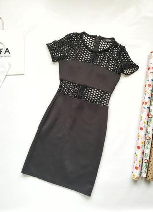 Трендовое черное платье в крупную сетку на рукавах и талии mis...
