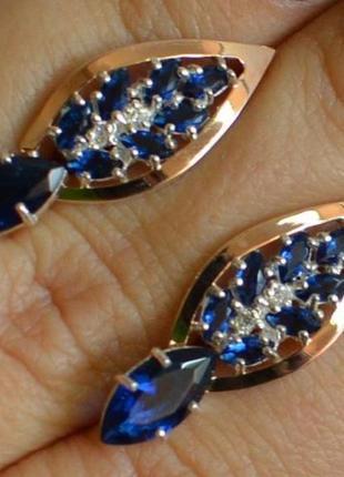 Серебряные серьги с золотыми вставками 172с