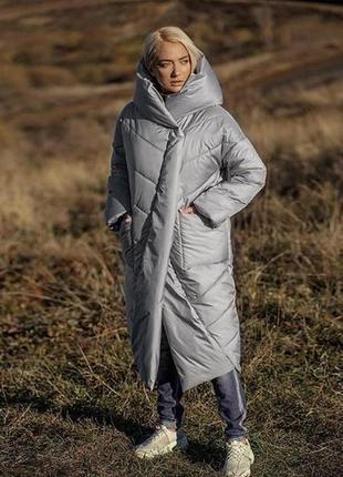 Зимняя куртка серая marani пуховик зефирка одеяло оверсайз