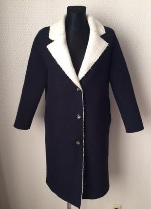 Классное шерстяное пальто (валяная шерсть) цвета индиго от zar...