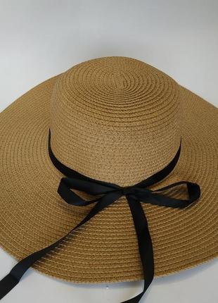 Пляжная летняя шляпа широкополая 12 см соломенная канотье хаки...