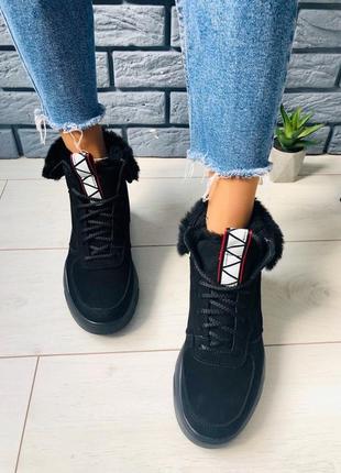 Lux обувь! зимние натуральные высокие кроссовки ботинки на мех...