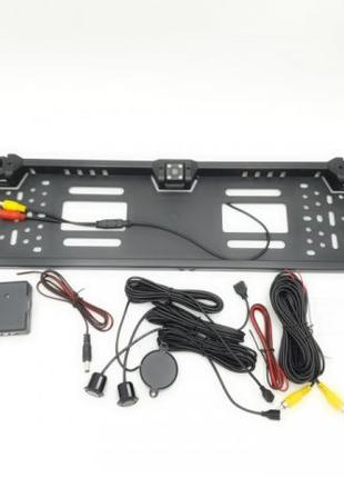 Рамка для номера камера заднего вида 4 LED парктроник 2 датчика
