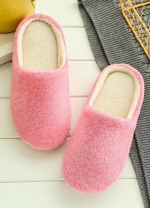 Тапочки домашние женские комнатные теплые тапки розовые голубы...