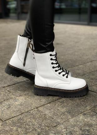 Dr. martens white fur женские зимние ботинки мартинс с мехом н...