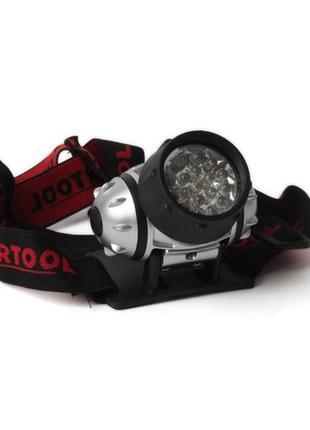 Фонарь налобный светодиодный, четыре режима работы, 19 LED, ба...