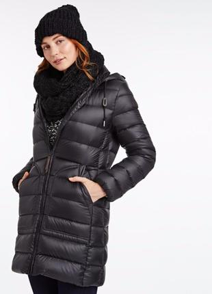 Куртка длинная черня пух перо Timberland down jacket s