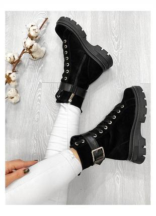 Женские замшевые ботинки спортивного стиля