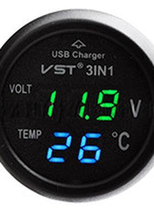 Часы автомобильные в прикуриватель VST 706-4 (зелёный блистр) ...