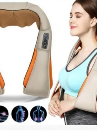 Роликовый массажер для спины и шеи Massager of neck kneading 1...