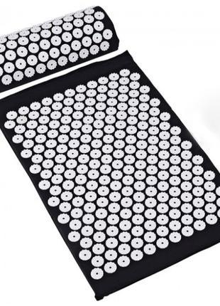 Коврик ортопедический массажный ЧЕРНЫЙ Acupressure mat с подуш...