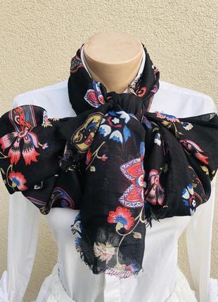 Большой шарф,палантин с бахромой,цветочный принт,этно,бохо