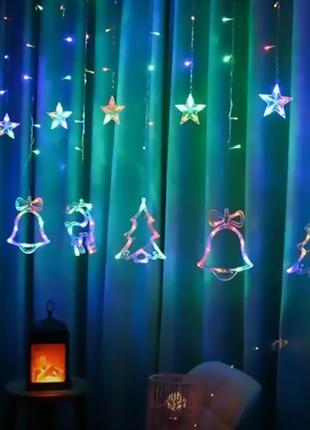 Гирлянда Штора с формами колокольчик, елка, олень 12 PCS light...