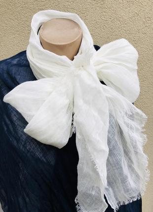 Белый,100%лен шарф,палантин легкий,летний,италия