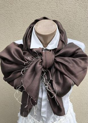 Большой,шелковый шарф,коричневый палантин с бахромой,