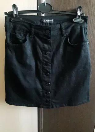 Джинсовая юбка деним на пуговицах