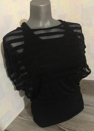 Чёрная футболка-майка с сеткой. s-m. италия.