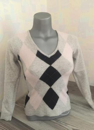Кашемировый свитер серого цвета с ромбиками. размер xxs-xs. f&f.