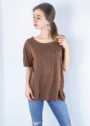 Denim&supply ralph lauren коричневая свободная ажурная футболка