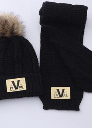 Шапка шарф комплект зимний тёплый