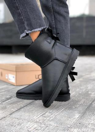 Ugg bailey button mini black leather натуральные женские зимни...