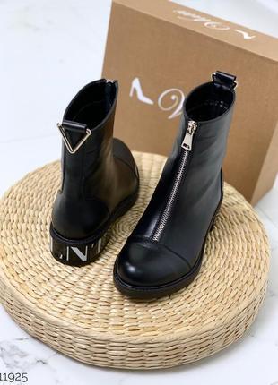 Зимние кожаные ботинки с молниями на низком каблуке,ботинки на...
