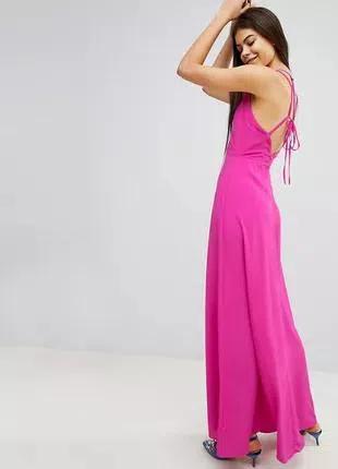 Шифоновое макси платье цвета фуксия