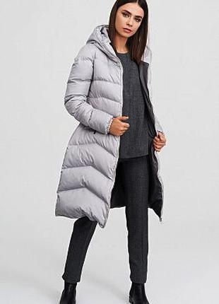 Серая куртка, парка, пуховик на молнии с капюшоном Vogue