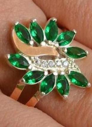 Серебряное кольцо с золотом и фианитами 170к