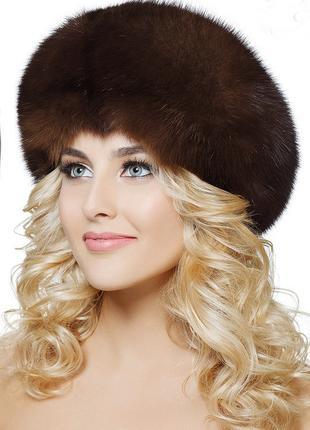 Женская, натуральная норковая, меховая шапка