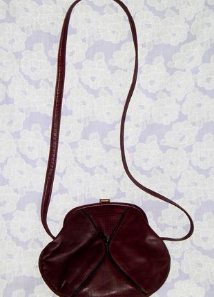 Натуральная кожаная, бордовая сумка, клатч, кроссбоди