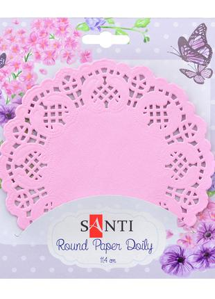 Набор салфеток ажурных круглых, цвет розовый, диаметр 11,4 см,...