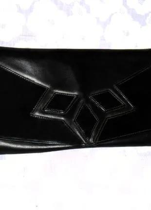 Натуральная кожаная, вечерняя, черная сумка, сумочка, клатч