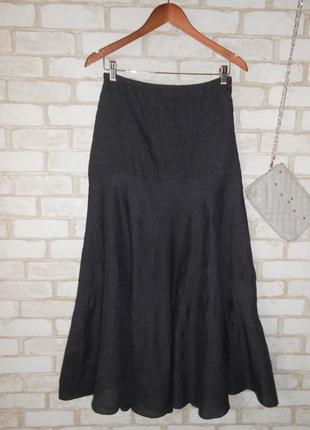 Льняная юбка с высокой талией