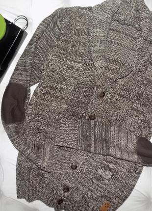 Стильный мужской пуловер, кофта с нашивками на рукавах