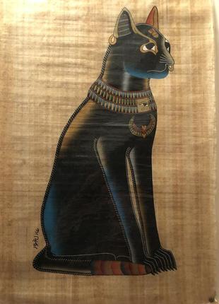 Картина кошка на папирусе