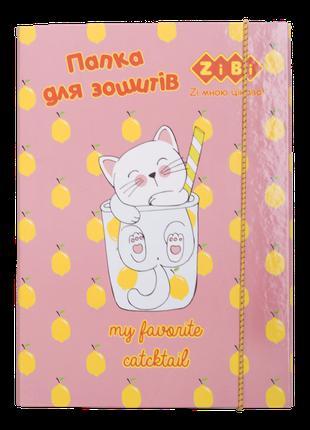 #/Папка для тетрадей CUTE CAT картонная на резинке В5+ (175х24...