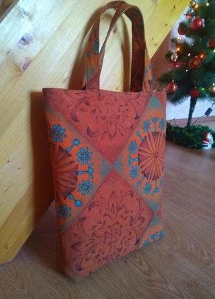 """Эко-сумка сумка шоппер """"калейдоскоп"""" ручной работы"""