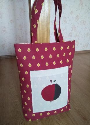 """Эко-сумка, тканевая сумка """"apple"""" ручной работы"""