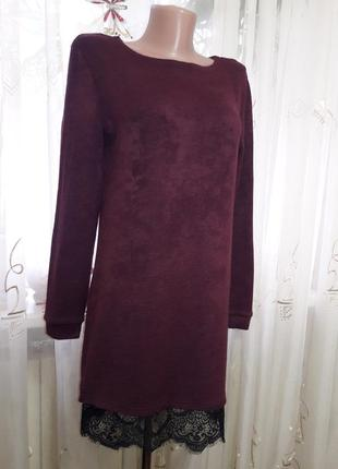Теплое трикотажное платье с кружевом
