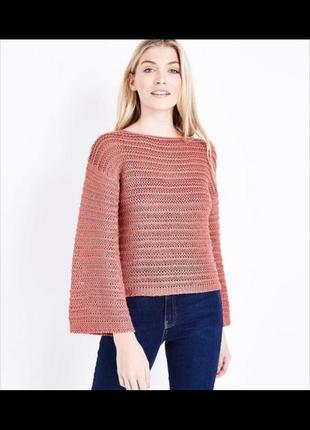 Вязаный свитер кофта персикового цвета